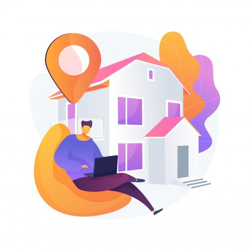Stay at home abstract concept vector illustration. Forced isolation, covid19 outbreak prevention measures, social distance, governmental support, self protection, wear mask abstract metaphor.